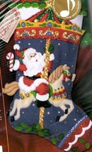 Bucilla Christmas Carousel Santa Horse Musical Holiday Felt Stocking Kit 85316 - $132.95