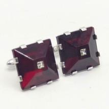 Vintage Mens Swank Silver Tone Red Stone Mid Century Design Cufflink Set - $24.74