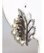 Crown Trifari Earrings Silver tone Faux Pearls Rhinestones Clip On Earri... - $28.79