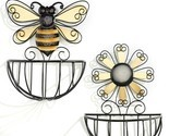 Set of 2 - Bee & Daisy Design Metal Wire Basket Wall Planters Yellow & Black