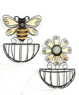 Set of 2 - Bee & Daisy Design Metal Wire Basket Wall Planters Yellow & B... - $128.69