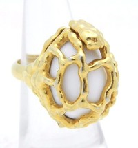 VTG CROWN TRIFARI Gold Tone White Openwork Abstract Ring Adj up to 7 - $74.25