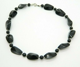 Black Acrylic Abstract Bead Beaded Choker Necklace Vintage - $13.86