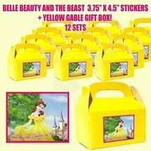 Princess Belle Party Favor Boxes Thank you Decals Stickers Loots Beauty ... - $24.70