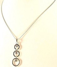 Silver coloured metal chain with triple diamante pendant - 13002 - $15.09