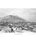 NEVADA Mining View of Sun Mountain Mount Davidson - 1883 German Print - $21.60