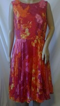Adrianna Papell Sleeveless Pleated Dress Size 10 Orange Multi-Color Lined - $34.99