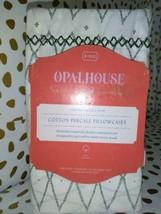 KING Cotton Percale Printed Pillowcase Set Sayulita White Green - Opalhouse   image 2