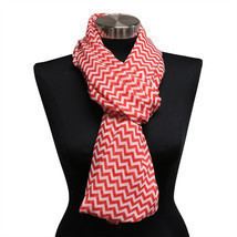 16PC Red Chevron Lightweight Infinity Wrap Cowl Women Scarf Circle Loop ... - £34.63 GBP