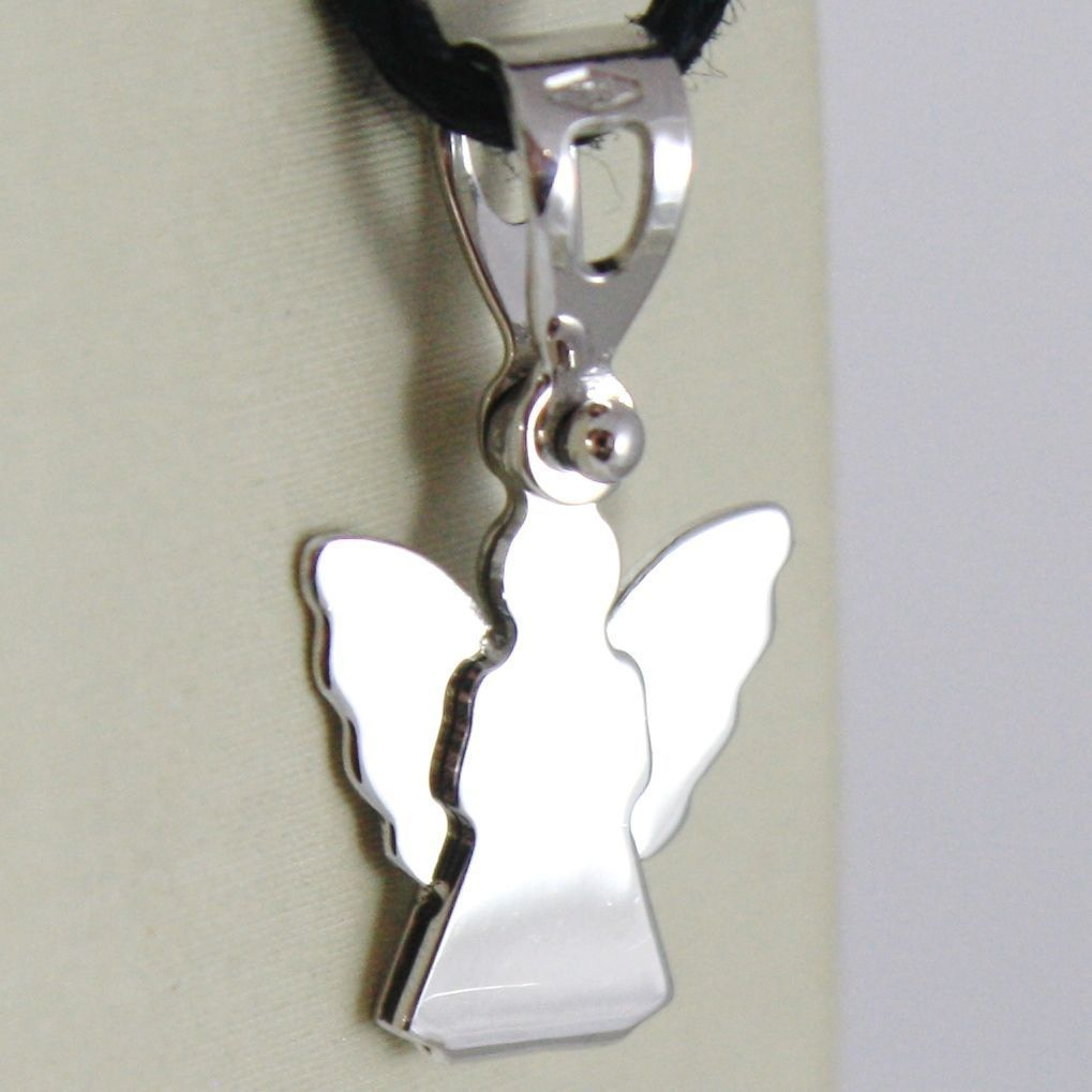 18K WHITE GOLD PENDANT WITH LUSTER STYLIZED GUARDIAN ANGEL MADE IN ITALY 0.71 IN