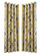 OGEE VERTICAL SWIRLS PATTERNED GREY FULLY LINED RING TOP CURTAINS *7 SIZES* - $37.71+