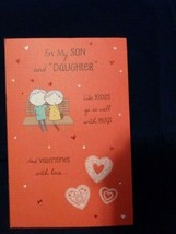 American Greetings Valentine Card Son and Daughter in Law Red with Envelope - $2.12