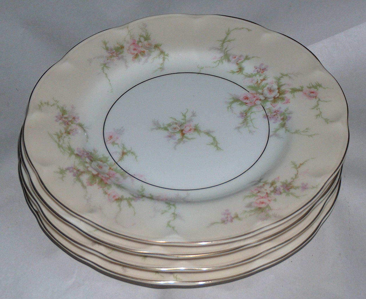 "Primary image for 4 Lot Theodore Haviland New York NY 6 3/8"" ROSALINDE Dessert Plates Dishes USA"