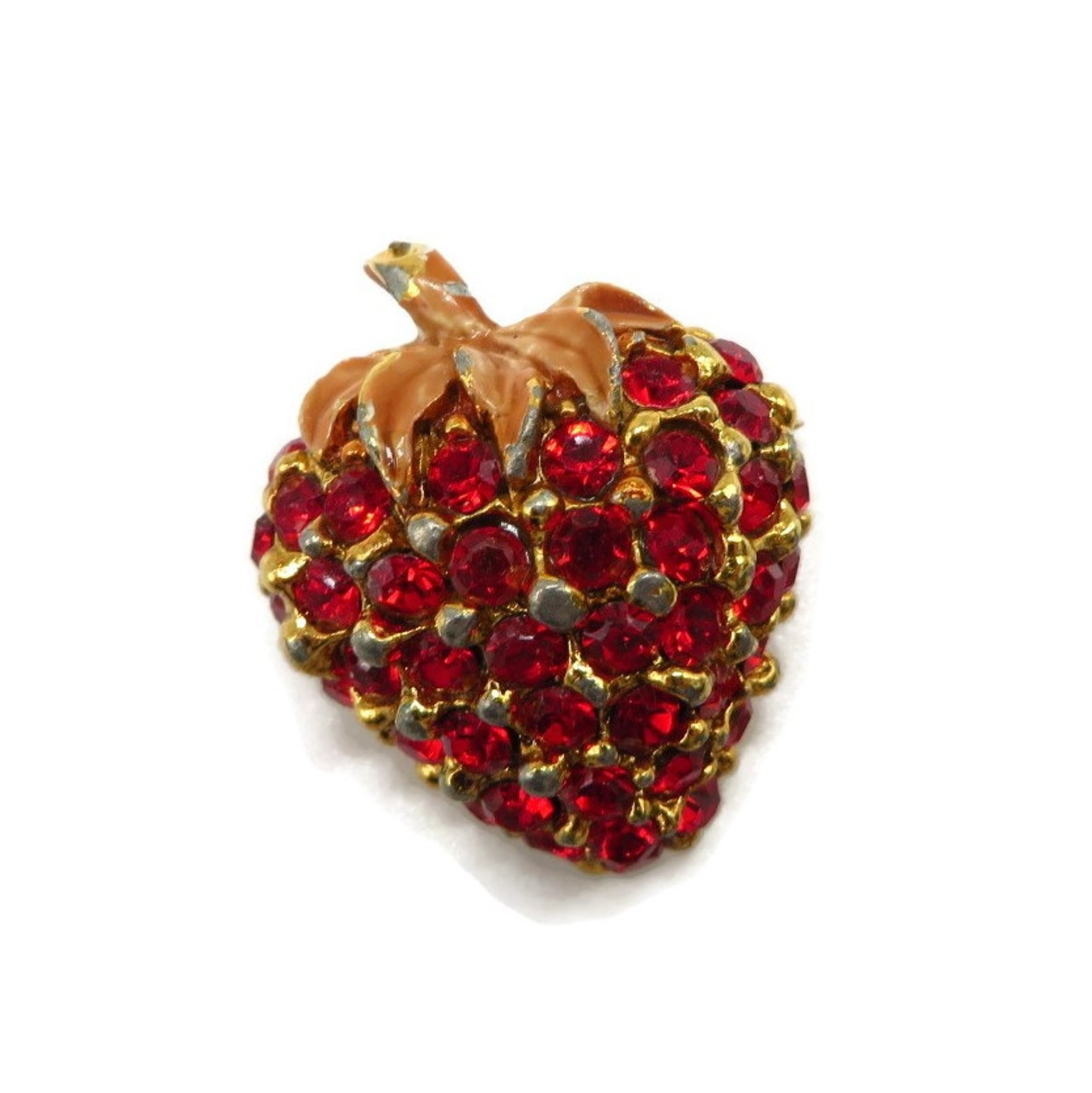 Red Rhinestone Strawberry Brooch Pin - $19.00