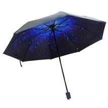 Anti-UV Sun Rain Protection Windproof Parasols Sky Cloud 3 Folding Umbrella - $19.41
