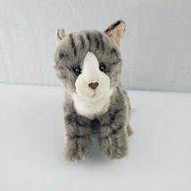 "Toys R Us Plush 9"" Gray Tabby Tiger Cat Black Stripes White Face Kitten ... - $19.50"
