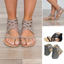 Classic Women's Flat Sandals Boho Cross Strap Zipper Sandals