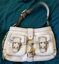 Coach Legacy Cream Gold Canvas Leather Trim Buckle Pockets Clip Hobo Bag... - $34.65