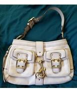 Coach Legacy Cream Gold Canvas Leather Trim Buckle Pockets Clip Hobo Bag... - $34.65