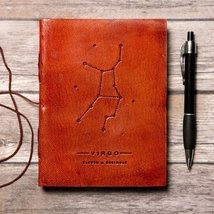 Virgo Zodiac Handmade Leather Journal - $38.00