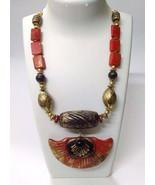 Necklace Pendant Wood Wooden Bead Handmade Jewelry Ethnic Boho Chic Fusi... - $14.84