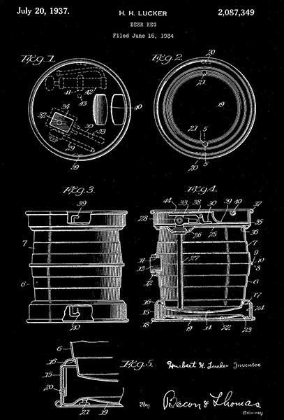 Primary image for 1937 - Beer Keg - H. H. Lucker - Patent Art Poster