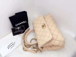 100% AUTHENTIC CHANEL 2017 CAVIAR QUILTED MINI COCO HANDLE FLAP BAG BEIGE GHW image 9