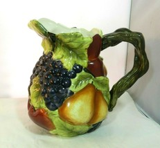 Sonoma Villa Large Water Pitcher Vine Handle Raised Fruit Home Interiors - $39.99
