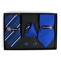 Striped & Solid Tie with Matching Hanky & Cufflinks - Blue - $19.79