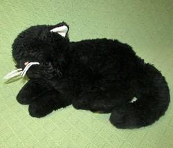 "12"" UNIPAK BLACK CAT PLUSH KITTEN STUFFED ANIMAL LAYING DOWN 2012 WHITE ... - $17.82"