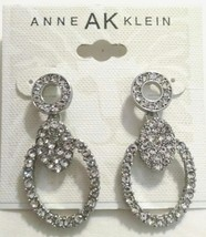 New Anne Klein Rhinestone Silver Designer Earrings - $15.99