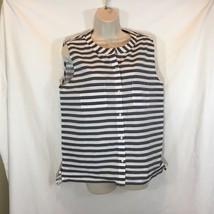 Gap Sz M Tank Top Shirt Striped Black White with pocket 100% Cotton RN 54023 - $10.39