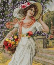 Cross Stitch Kit Panna Golden Series Girl With A Flower Basket - $73.00
