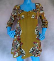 Free People Sophia Ornate Printed Tunic Mini Dress M 8 10 12 Lace Up Emp... - $46.44