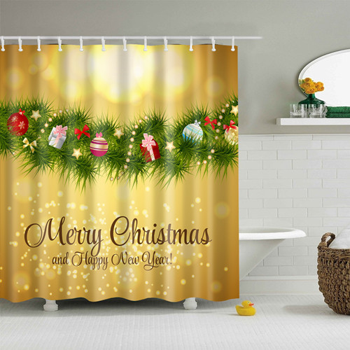JaneYU 25 color Merry Christmas Red Polyester Bath Curtain Santa Claus 3D Printe
