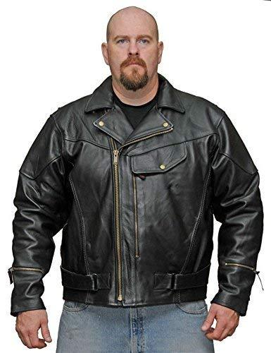 Primary image for MEN'S MOTORCYCLE MOTORBIKE PISTOL PETE COWHIDE LEATHER JACKET W/LINER BLACK NEW
