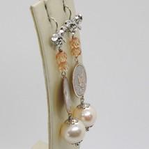 Pendientes de Plata 925 Rodiado Colgante Perla Pesca con Cristales y Lazo image 2
