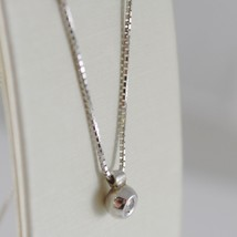 18K WHITE GOLD MINI NECKLACE WITH DIAMOND 0.03 CT, VENETIAN CHAIN MADE IN ITALY image 2
