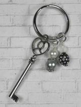 Skeleton Key Heart Glass Clay Beaded Handmade Keychain Split Key Ring Bl... - $14.54