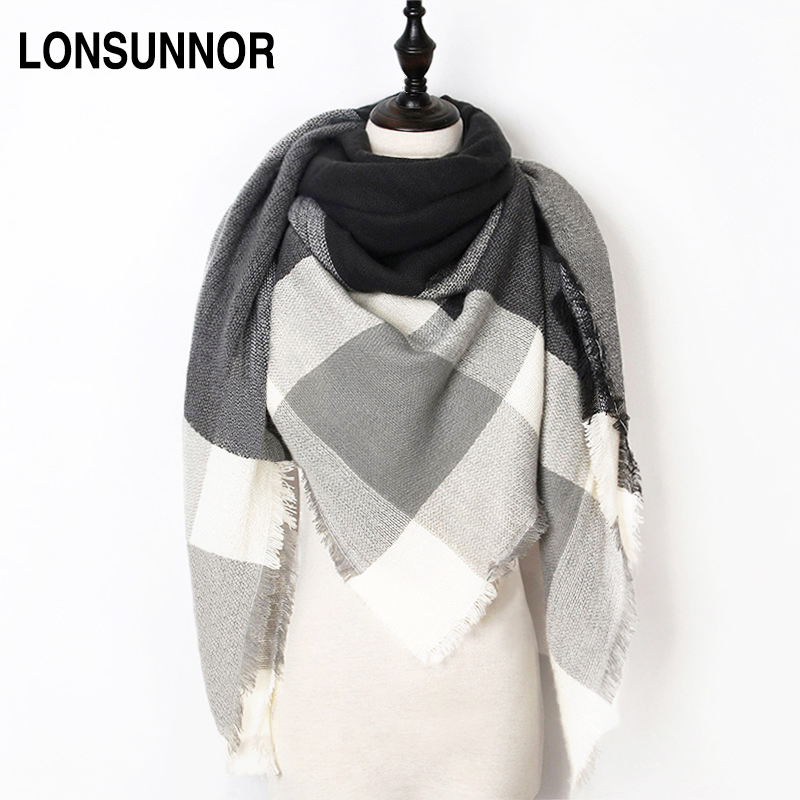 W fashion winter scarf for women scarf luxury brand triangle plaid warm cashmere scarves blanket