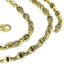 """18K YELLOW WHITE GOLD CHAIN SAILOR'S NAUTICAL MARINER BIG OVAL 4mm LINK, 20"""" image 2"""