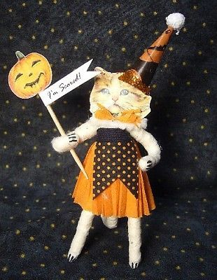 Vintage Inspired Spun Cotton Halloween Kitty