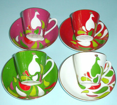 Kate Spade New York Festive Peacock Demitasse 4 Cups & 4 Saucers New in Hat Box - $79.90