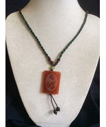 Braid Cord etched Dragon double sided Jade Pendant Necklace - $25.34