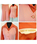 Vintage Koret of California Set size M Orange Checkered Pants Vest Disco... - $79.95