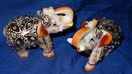 "3"" Marble Turning Set of two Painted Elephant Handmade Safari Home Decor... - $66.16"