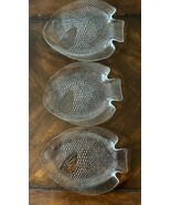 Vintage Fish Dishes Arcoroc France Set of 3 Fish Shaped Clear Glass Plates - $15.99
