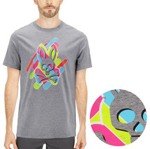 Men's Psycho Bunny Short Sleeve Tee Logo Graphic Shirt Heather Grey T-Shirt
