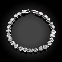 Made with Swarovski Crystals 7 Inch Tennis Bracelet 14K White Gold - $12.73