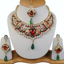 Zicsy Gold Toned Alloy Cz Necklace Earrings With Maangtikka BOKK307 - $38.00